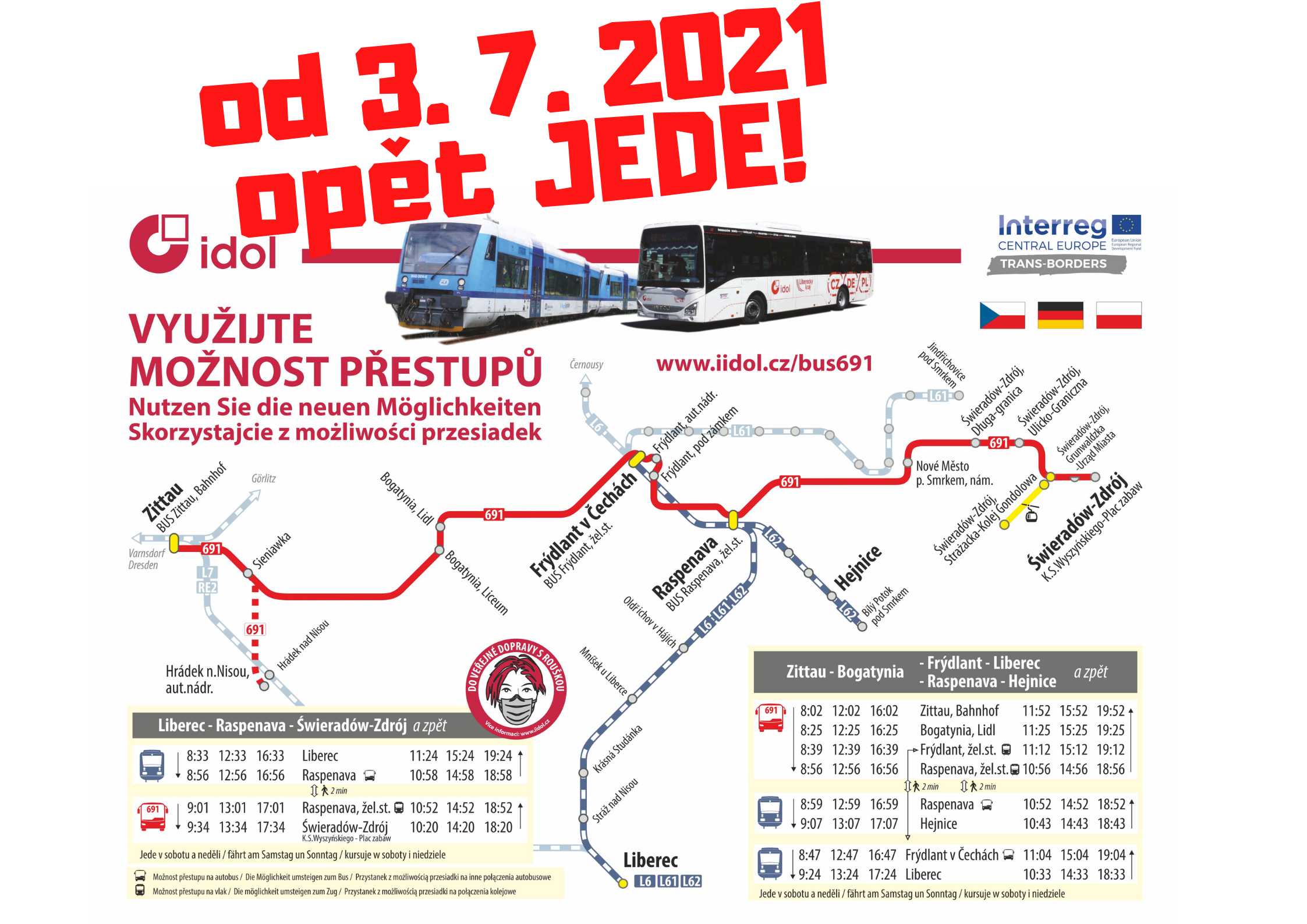 Mezinárodní linka Hrádek nad Nisou – Zittau – Bogatynia – Frýdlant – Nové Město pod Smrkem – Świeradów-Zdrój